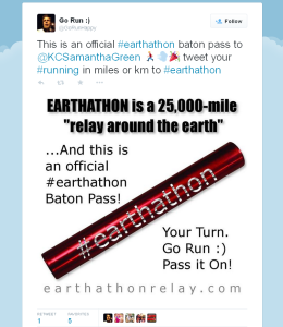 official earthathon baton pass tweet example
